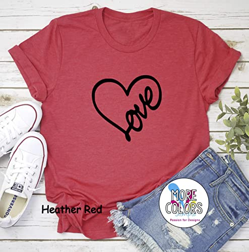 deffbdbad80d Amazon.com  Love Heart Valentines T-Shirt - Graphic Tees - Women s ...