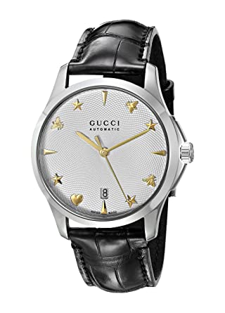 3064b5305c7 Image Unavailable. Image not available for. Color  Gucci Swiss Quartz  Stainless Steel and Leather Dress Black Men s ...
