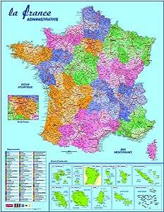 CBG - Mapa de departamentos y dominios de Francia (plastificado, 66 x 84,5 cm, 4 orificios para colgar), multicolor: Amazon.es: Oficina y papelería