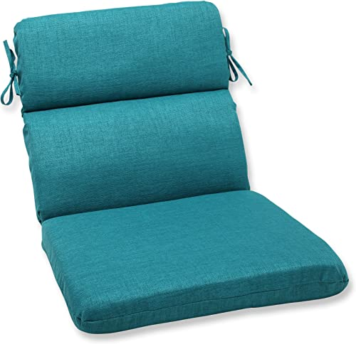 Pillow Perfect Outdoor/Indoor Rave Teal Round Corner Chair Cushion