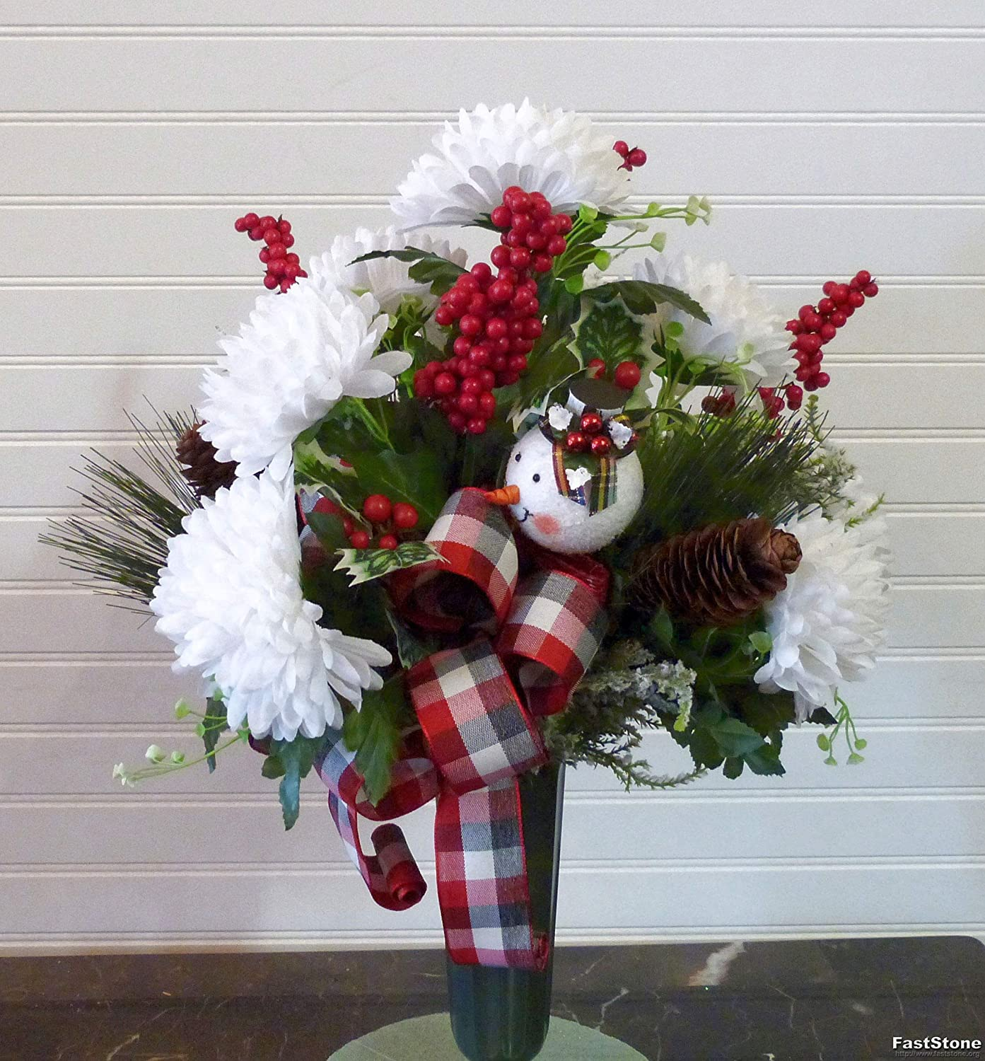 Christmas Cemetery Vase with Mums Cemetery Flowers with snowman Grave Flowers Christmas