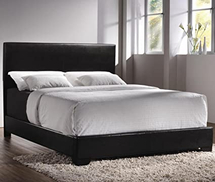 california king bed. Coaster 300260KW-CO Conner Upholstered Platform California King Bed, In Black Bed A