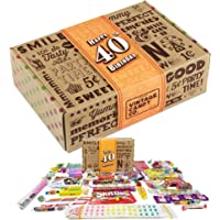 VINTAGE CANDY CO. 40TH BIRTHDAY RETRO CANDY GIFT BOX - 1980 Decade Childhood Nostalgic Candies - Fun Funny Gag Gift Basket - Milestone FORTIETH Birthday - PERFECT For Man Or Woman Turning 40 Years Old