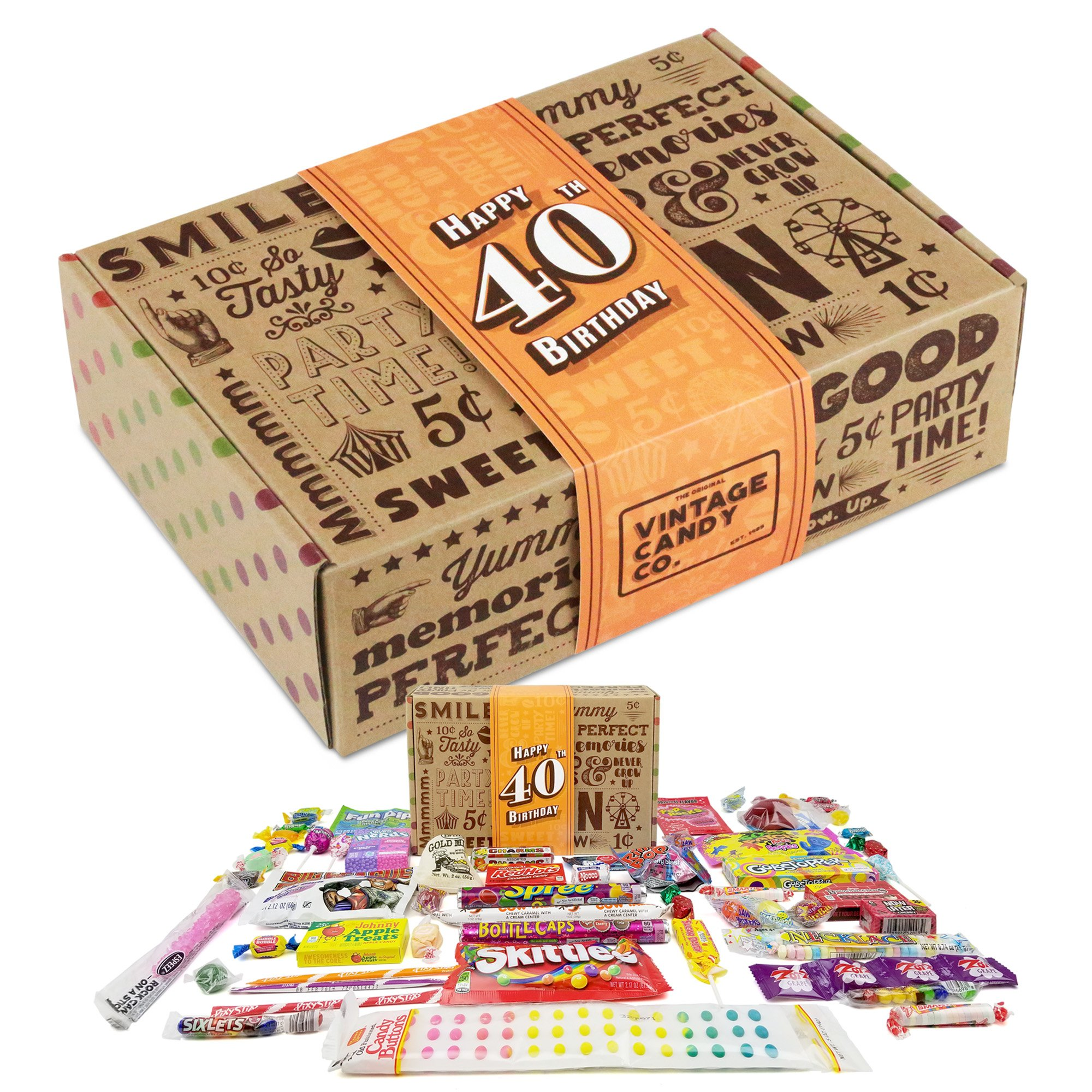 VINTAGE CANDY CO. 40TH BIRTHDAY RETRO CANDY GIFT BOX - 1979 Decade Childhood Nostalgic Candies - Fun Funny Gag Gift Basket - Milestone FORTIETH Birthday - PERFECT For Man Or Woman Turning 40 Years Old by Vintage Candy Co.
