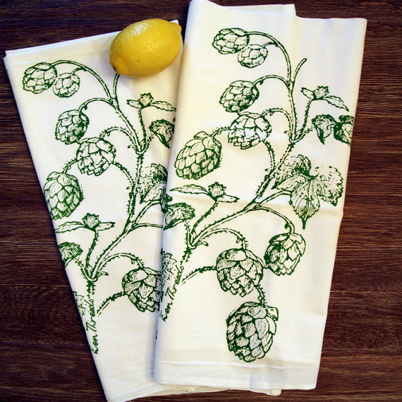 Set of 2 HOPS Multi-Purpose Flour Sack Bar Towels by ZenThreads