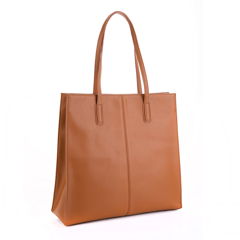 be9b45da14a73 Jieway Women Basic PU Leather Shoulder Bags Tote Bags Classic Handbags (Tan)