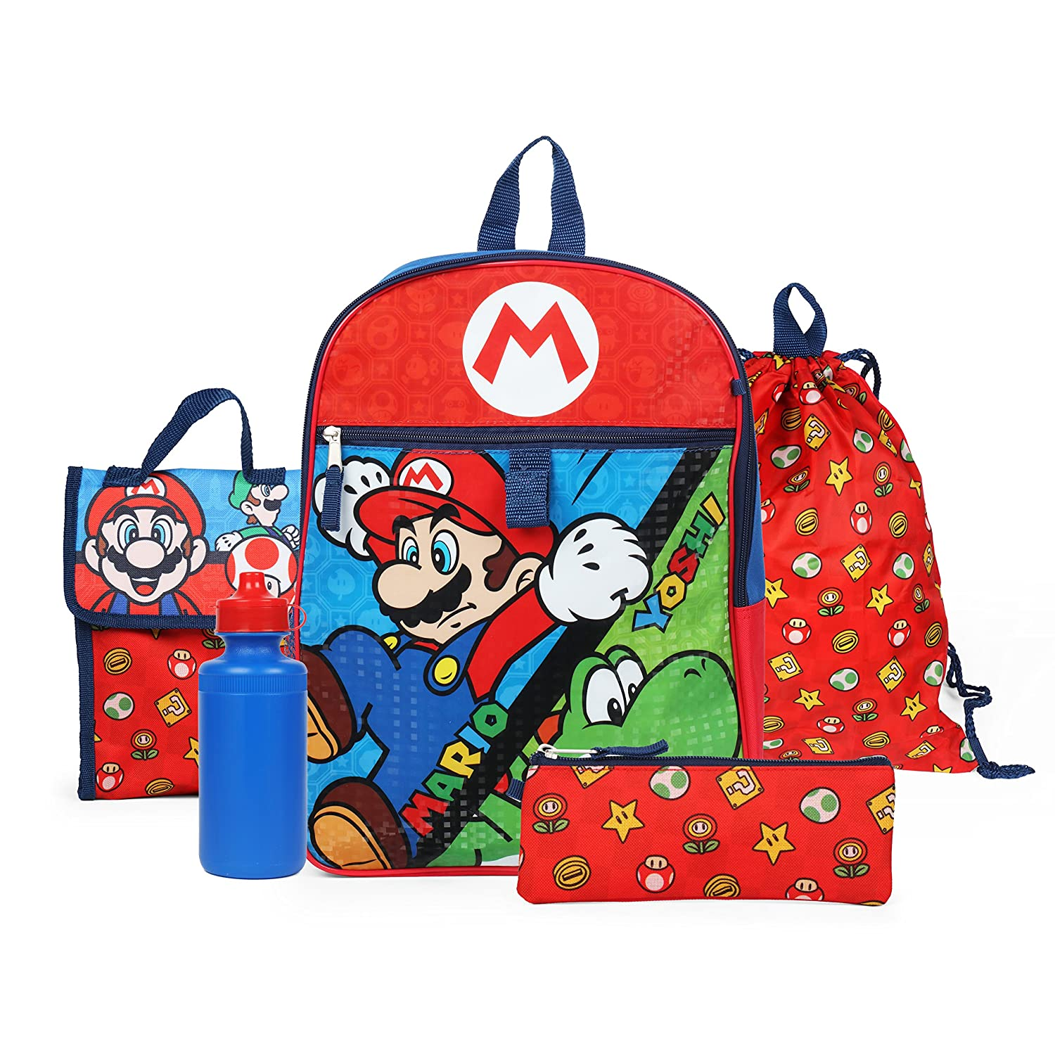 Nintendo Boys Super Mario Backpack Back to School 5 Piece Essentials Set