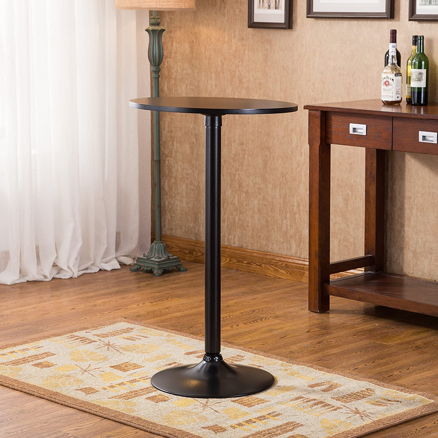 Roundhill Furniture Belham Black Round Top with Black Leg and Base Metal Bar Table RH PT253