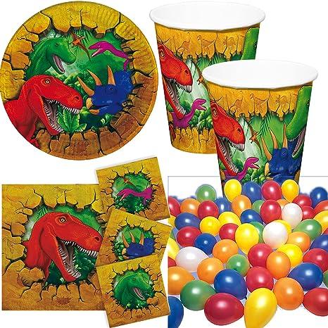 52 Piezas Fiesta Dinosaurios T Rex Con Platos Vasos Servilletas