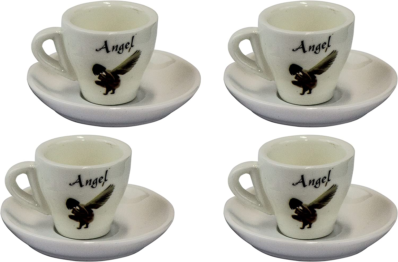 Tazzina da caff/è piattino a parete spessa 4 x tazzine da caff/è in bianco un/'atmosfera Espresso tazza 8 pezzi
