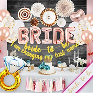 PGNART Bachelorette Party Decorations Kit Rose Gold Bridal Shower Decorations Rustic Theme Wedding Supplies Bride to Be Banner Sash Glitter Ring Balloon Hanging Fans Backdrop Garland Tassel Mimosa Bar