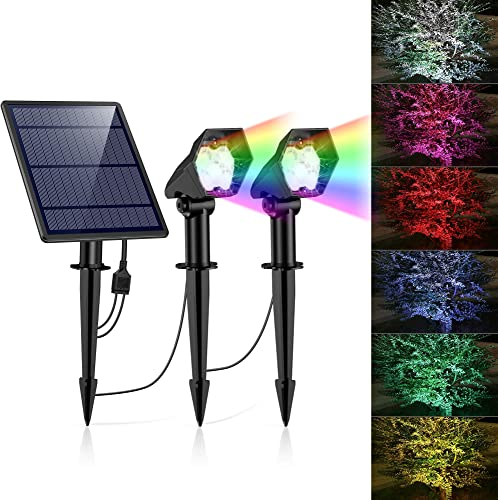 Solar Lights Outdoor, Solar Landscape spotlights 10 LED Solar Lights, 2-in-1 Waterproof Adjustable Solar Powered Wall Lights for Yard Garden Driveway Porch Walkway Pool Patio 2 Pack Multi-Color