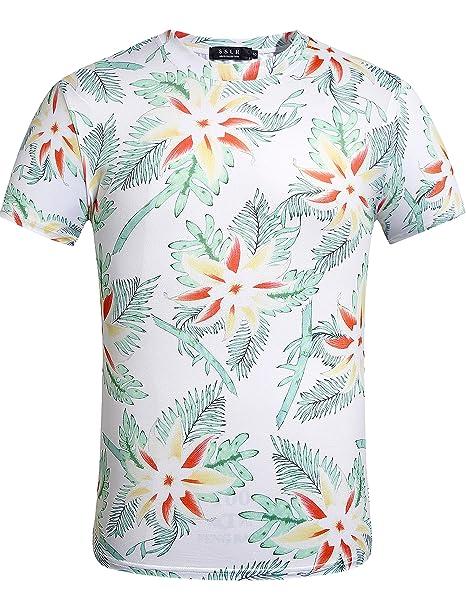 SSLR Camiseta Hawaiana Hombre Manga Corta Aloha Tropical Flores (Small, Blanco)