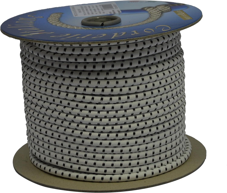 Corderie Italiane 6005117 Treccia Elastica 6 mm-50 MT Blanco Bianco