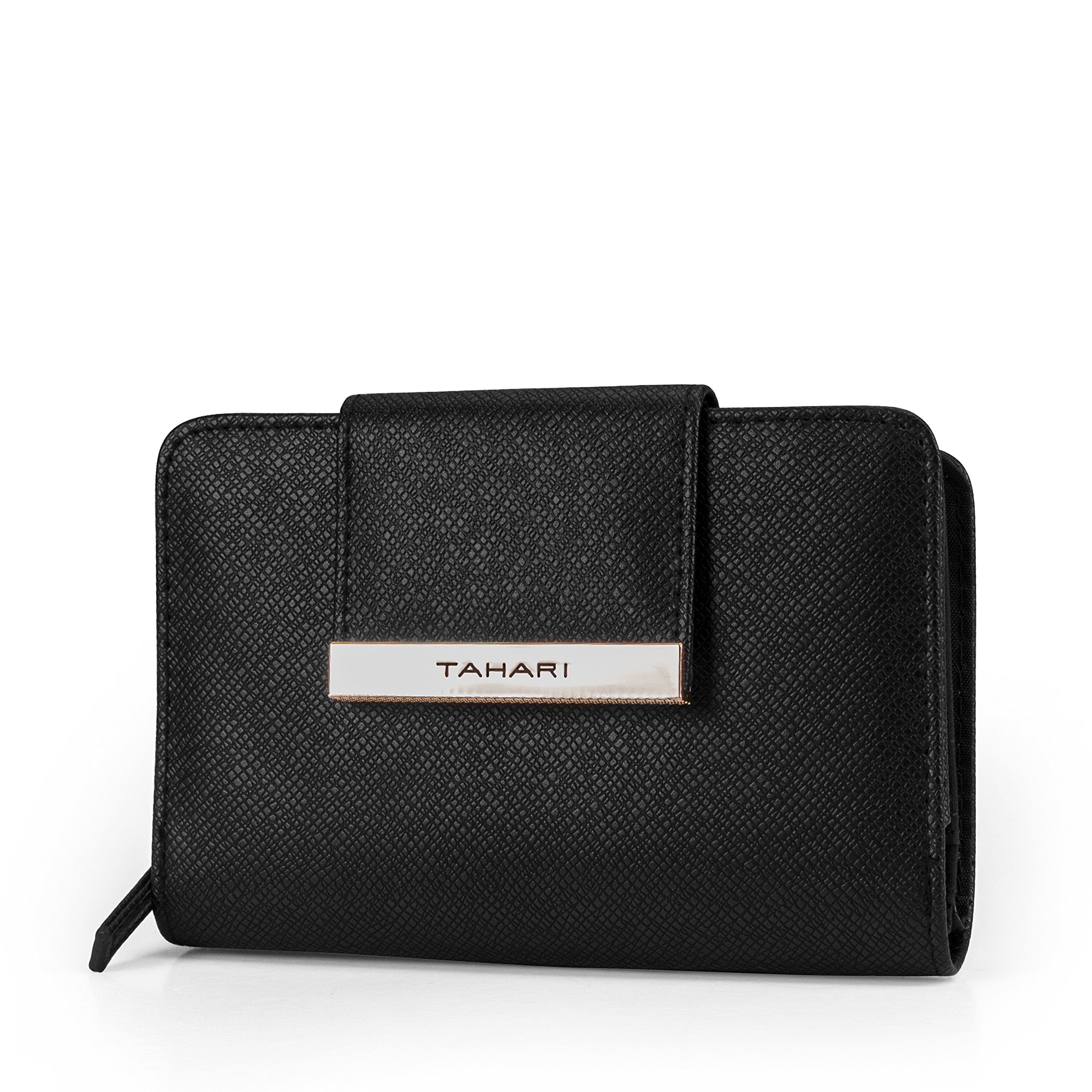 Tahari Hold on Small Womens Wallet RFID Blocking Compact Clutch Organizer Vegan Leather (Black)