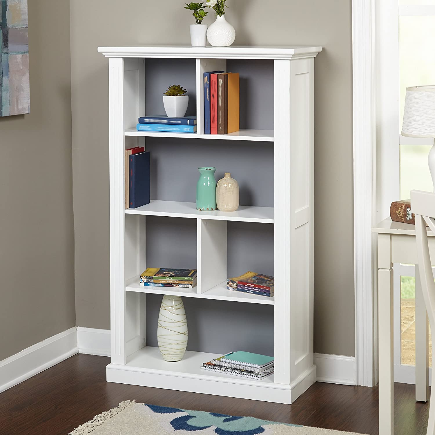 Target Marketing Systems Ella Bookcase with 4 Shelves and a Reversible Back Panel of Either Solid Gray or Blue with White Polka Dots, Antique White