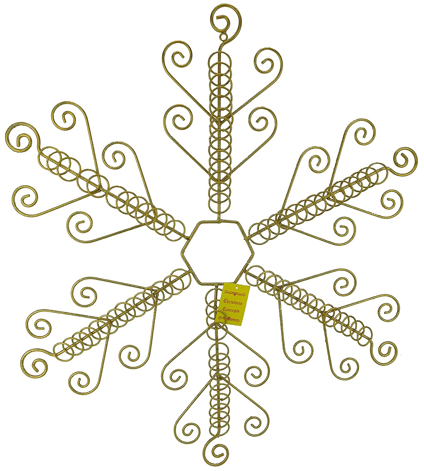 Christmas Concepts® 64.5cm Gold Snowflake Shaped Flat Christmas Card Holder - Holds 84 Cards