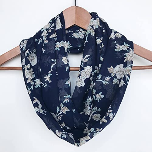 b58c60b33c9 Amazon.com: Navy Blue Floral Infinity Scarf Gift For Mom Lightweight ...
