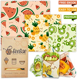 BeeBae Premium Beeswax Food Wrap Set of 3 + Free E Book | Organic Natural Zero Waste Beeswax Wrap | Cling Wrap Alternative + Plastic Free | Reusable Food Wrap | Bees Wax Wrap For Food | Beeswax Wraps