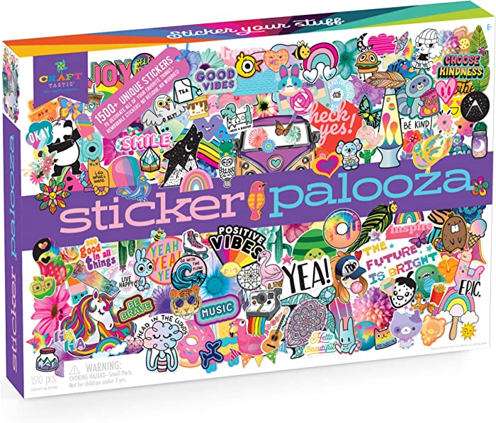 Craft-tastic – Sticker Palooza – Includes 1500+ Cute & Trendy Stickers for Kids and Teens – Decorate Notebooks, Phones, Laptops, and More!