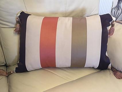 Sleep Company - Funda de cojín (40 x 60 cm), diseño de Rayas de Karok Boudoir con borlas en Terracota
