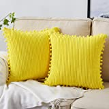 Bedwin Pack of 2 Corduroy Soft Decorative Throw Pillow Cover with Pom-poms, Striped Velvet Square Cushion Covers Pillowcase f