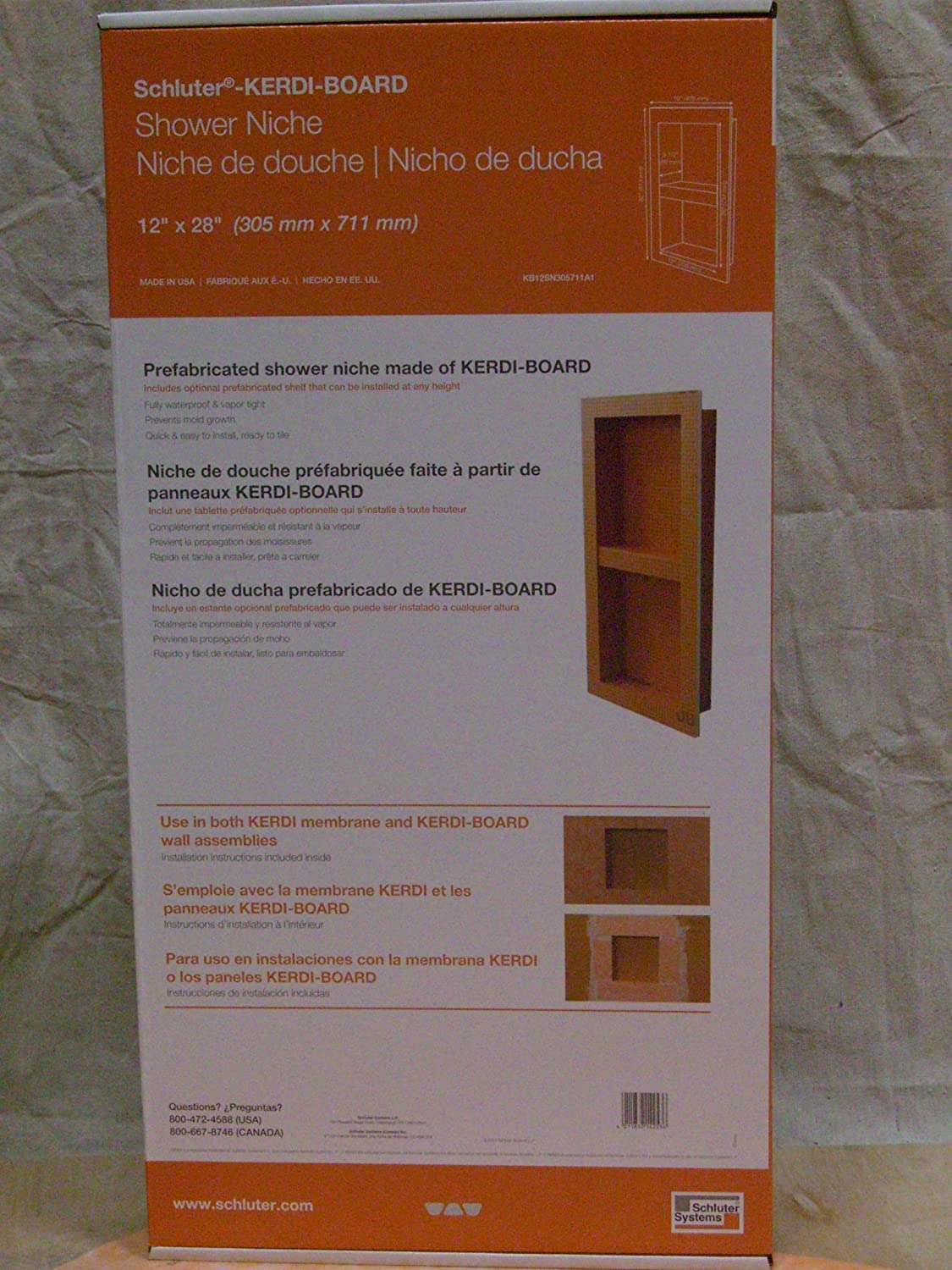 You Pick the Size You Need ~ Schluter Kerdi Shower Niche  ~ 4 Sizes..