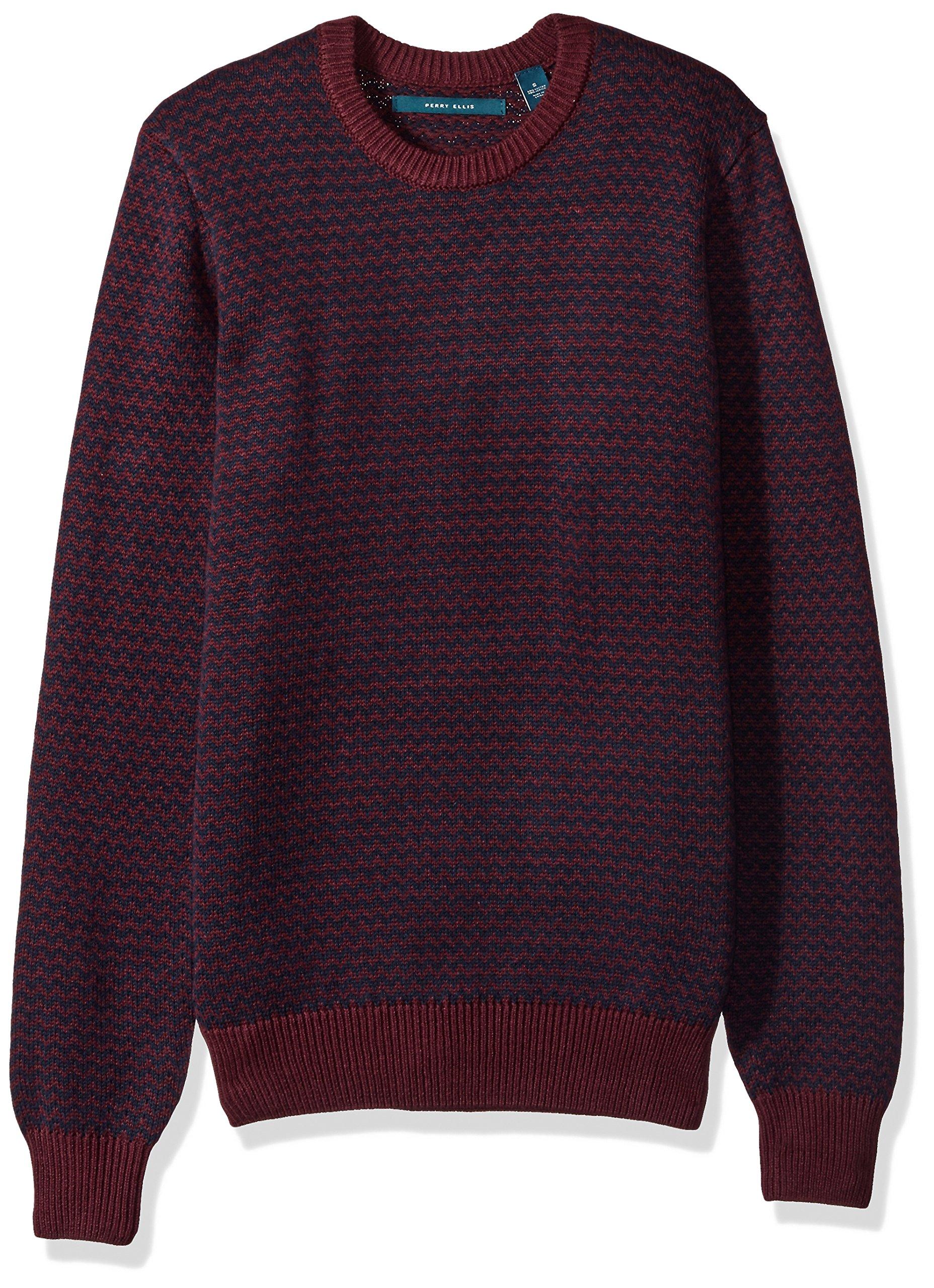 Perry Ellis Men's Herringbone Crew Neck Sweater, Port, Medium