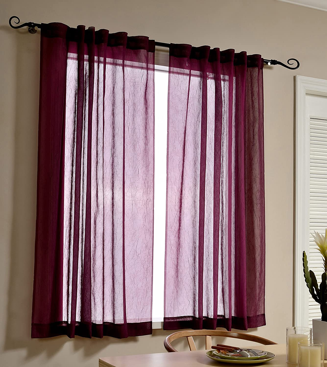 MYSKY HOME Back Tab and Rod Pocket Window Crushed Voile Sheer Curtain Panels, Purple