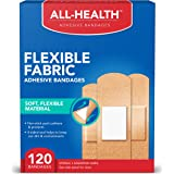 All Health Flexible Fabric Adhesive Bandages, Assorted Sizes Variety Pack, 120 ct   Flexible Protection for First Aid and Wou