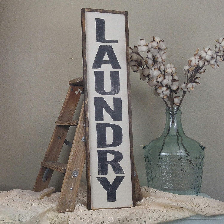 "Dozili Laundry Room Sign Laundry Room Decor Laundry Sign Vertical Laundry Sign Wood Laundry Sign Custom Wood Sign 6"" x 20"""
