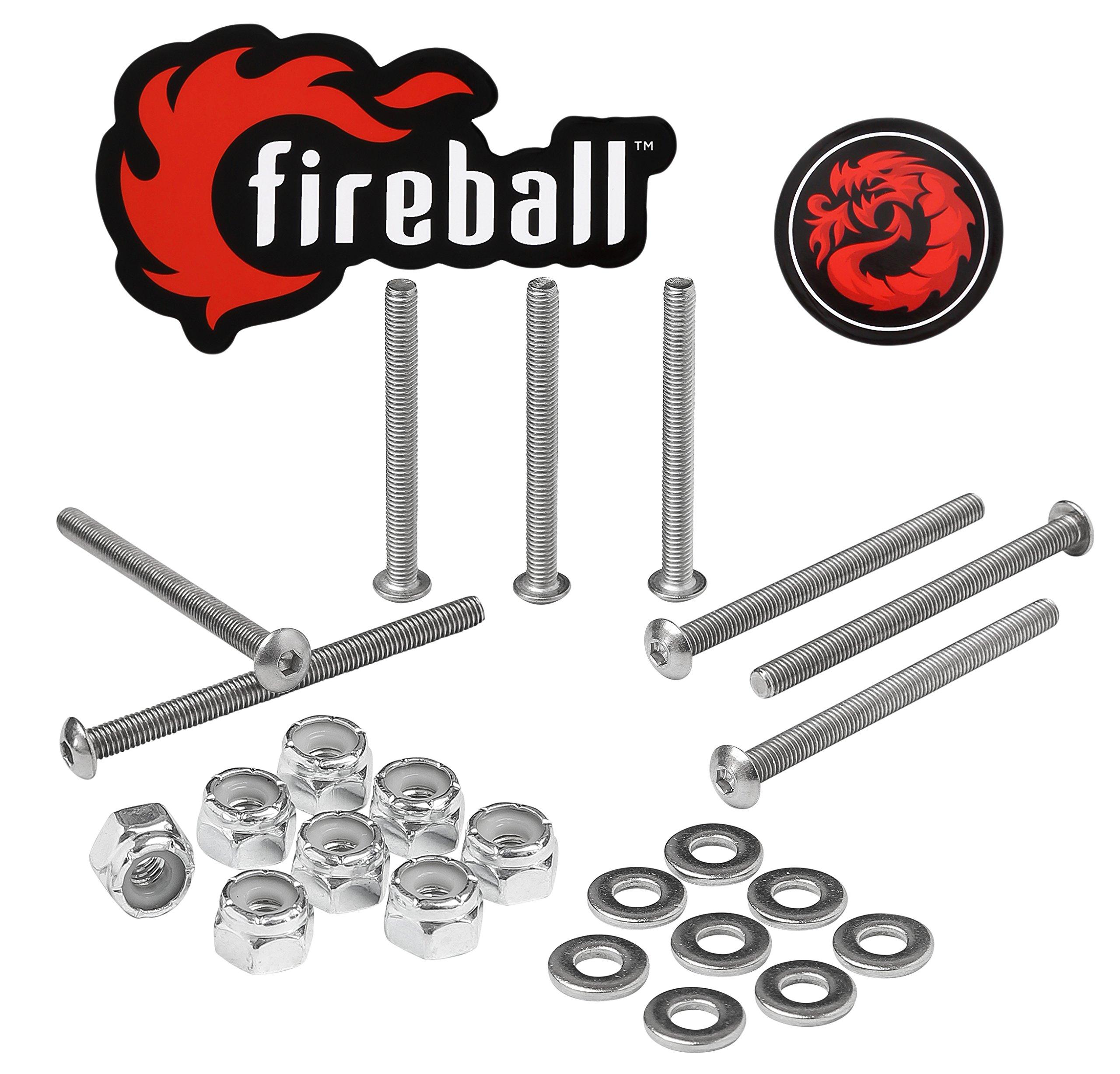 Fireball Dragon Stainless Steel Skateboard Hardware Set (Button Allen, 2.5'') by Fireball (Image #1)