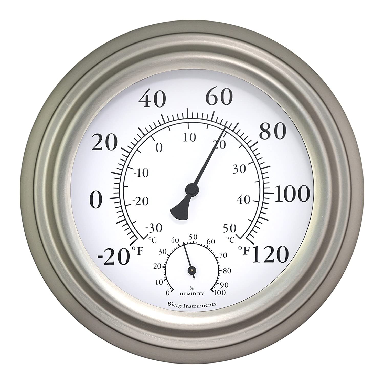 Amazon 8 satin nickel finish decorative indoor outdoor amazon 8 satin nickel finish decorative indoor outdoor thermometer and hygrometer garden outdoor amipublicfo Gallery
