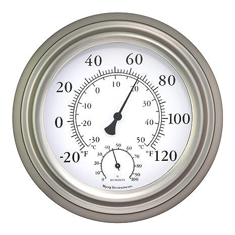 "Bjerg Instruments 8"" Satin Nickel Finish Decorative Indoor/Outdoor  Thermometer and Hygrometer - Amazon.com : Bjerg Instruments 8"