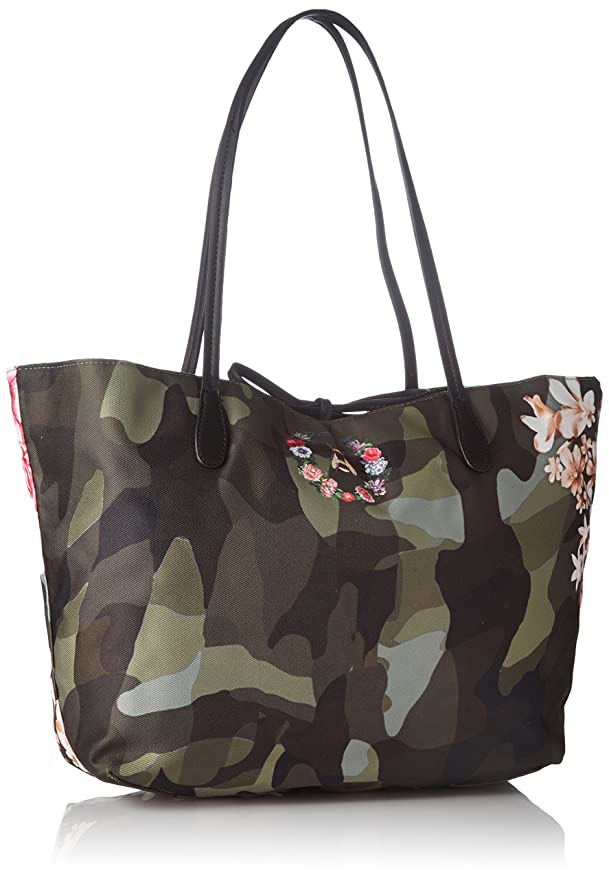 6d90754a7 Desigual - Bols_capri Militar Flores. 4003. U, Mujer, Verde (Musgo),  13x28x30 cm (b x h t): Amazon.es: Zapatos y complementos