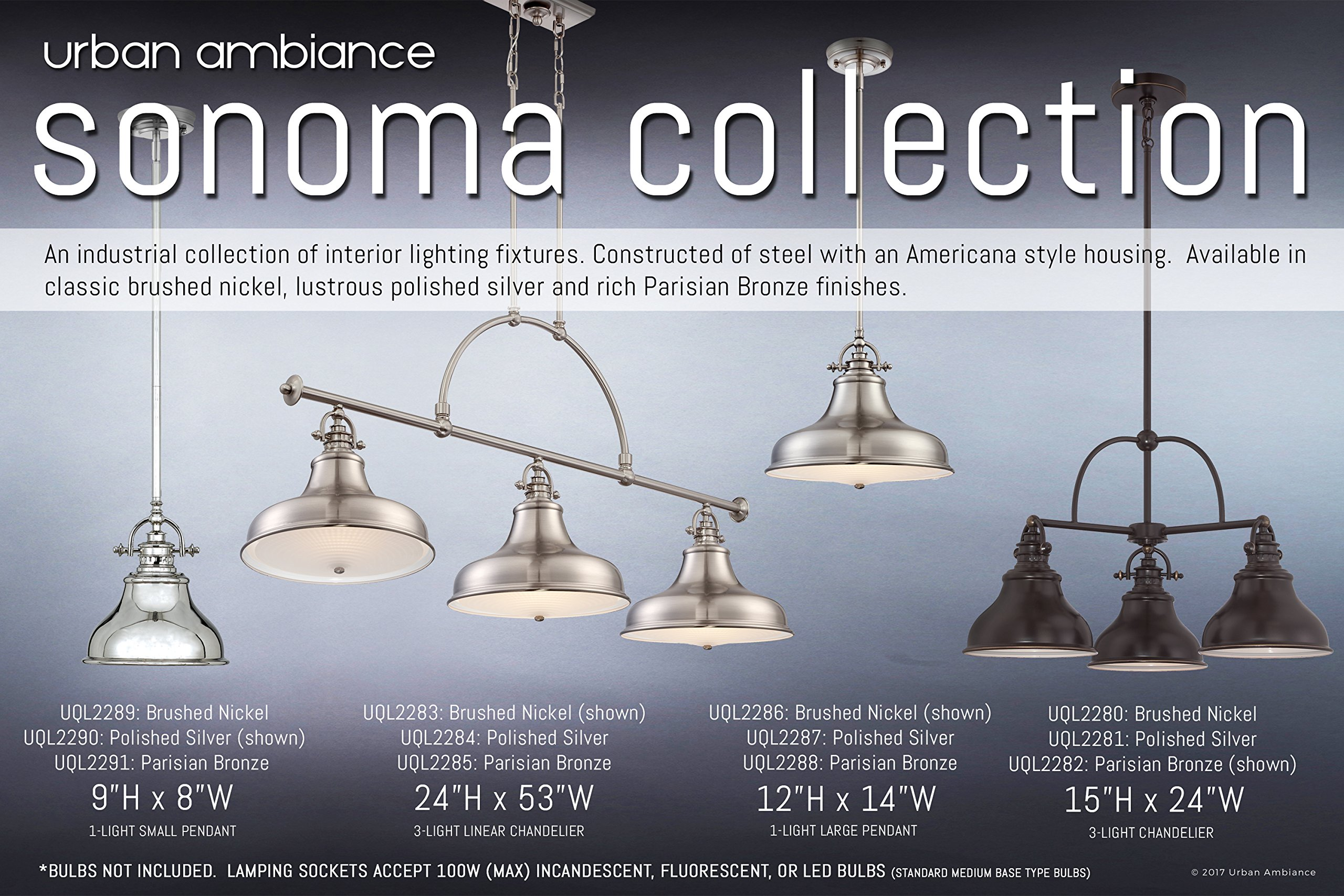Luxury Industrial Hanging Pendant Light, Small Size: 9''H x 8''W, with Americana Style Elements, Nostalgic Design, Pretty Brushed Nickel Finish and Steel Shade, UQL2289 by Urban Ambiance