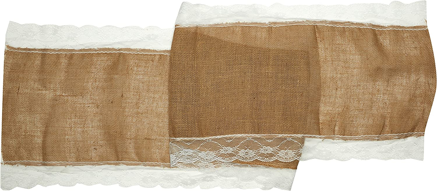 The Country House Collection 36 Vintage Lace//Burlap Runner 13x36