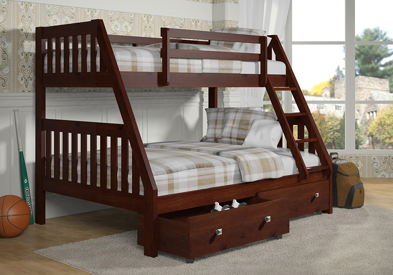 DONCO Bunk Bed Twin over Full Mission Style-Dark Cappuccino Finish-Includes Drawers