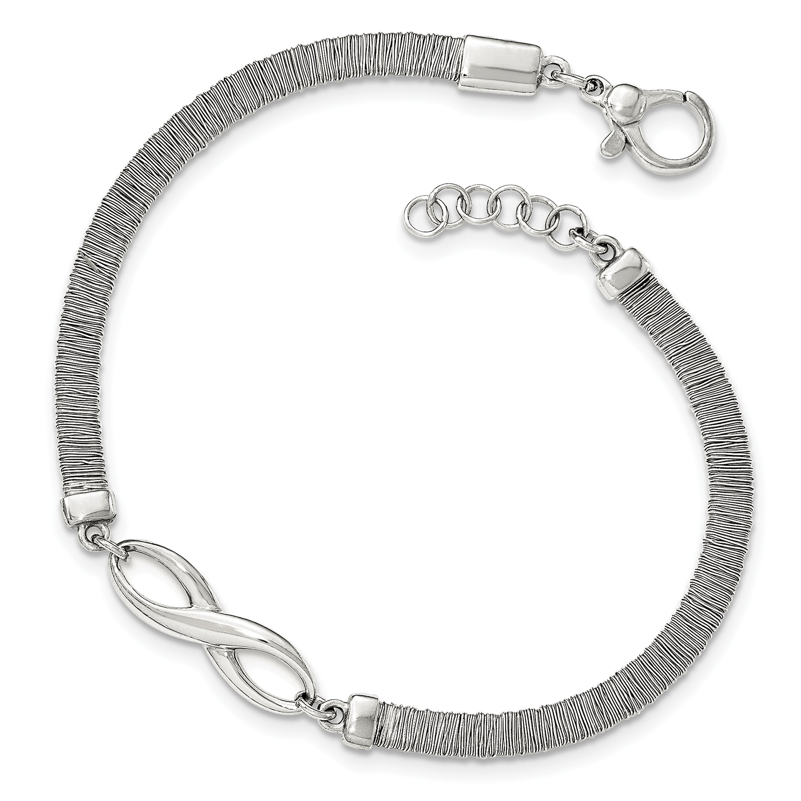 ICE CARATS 925 Sterling Silver Textured Infinity Bracelet .75in Extender 7.50 Inch Fine Jewelry Gift Set For Women Heart