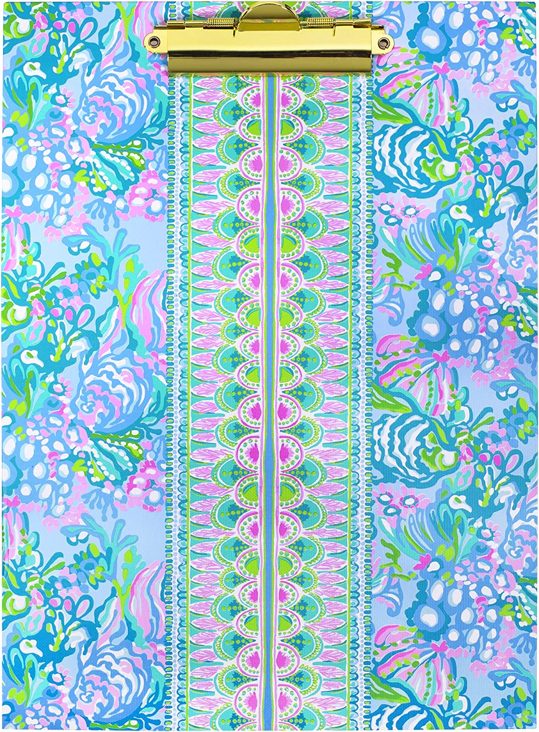 Lilly Pulitzer Blue Clipboard Folio with 60 Page Lined Notepad and Interior Storage Pocket, Aqua La Vista
