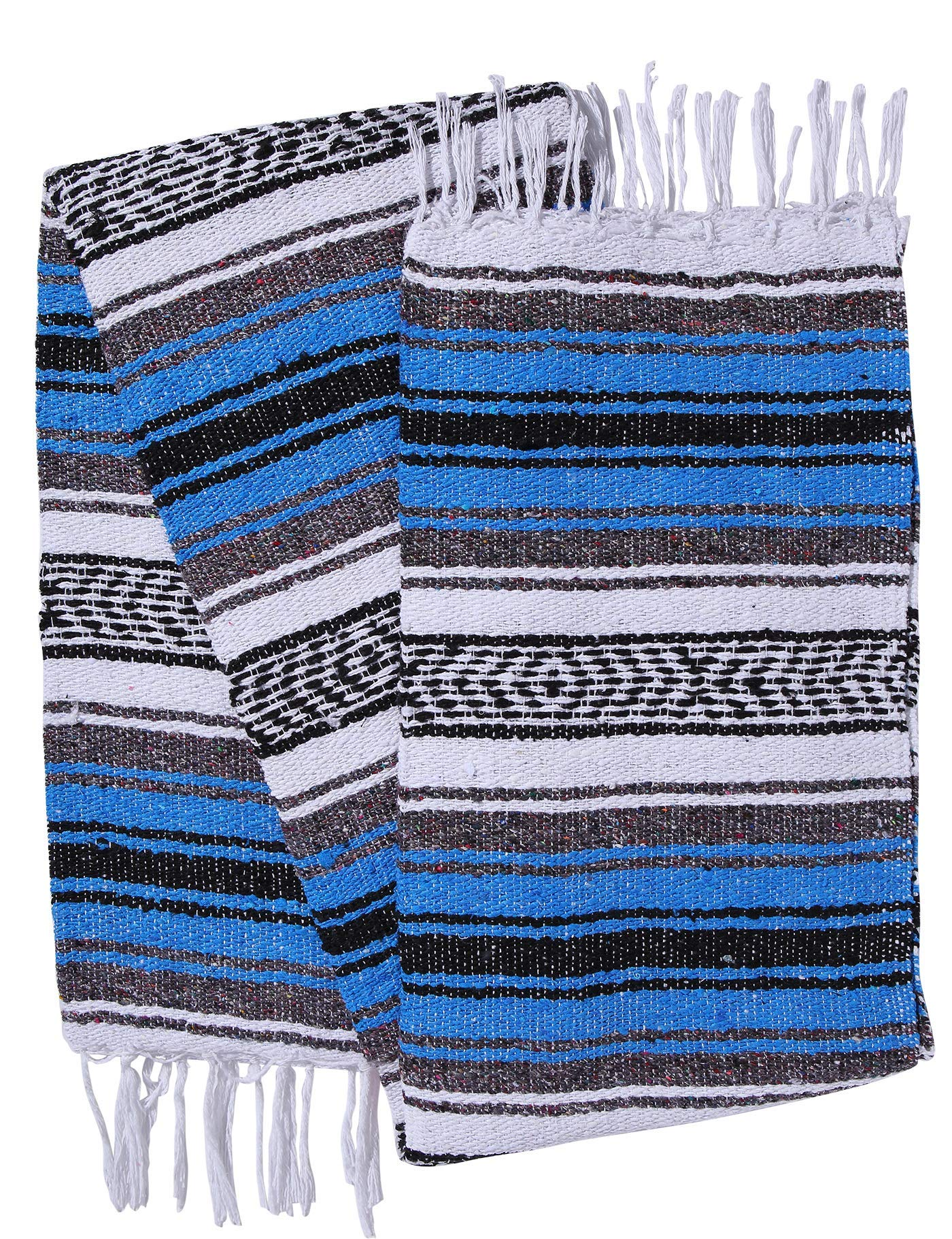 El Paso Designs Genuine Mexican Falsa Blanket - Yoga Studio Blanket, Colorful, Soft Woven Serape Imported from Mexico (Blue) by El Paso Designs (Image #3)