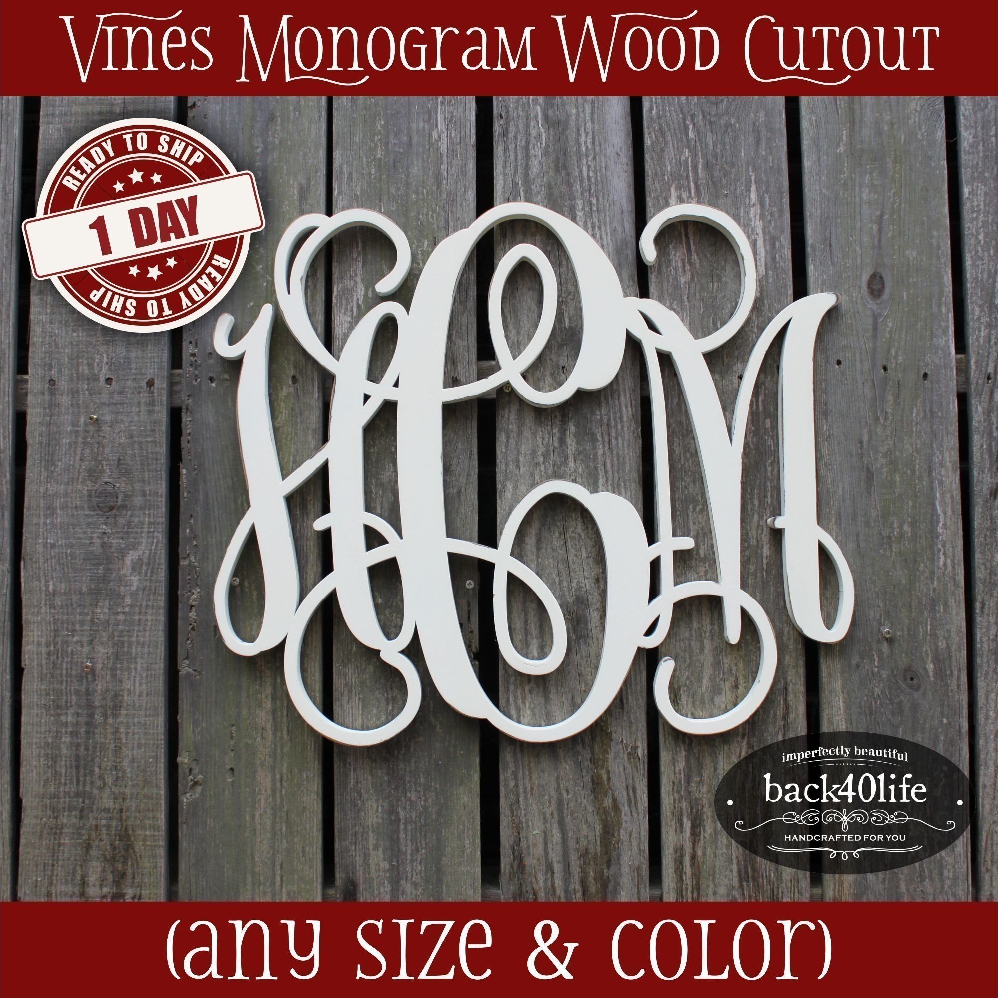 8-36 inch Vine Monogram Wood Letters Cutout Unfinished DIY or Painted Initial Decor Nursery Wooden Monogram