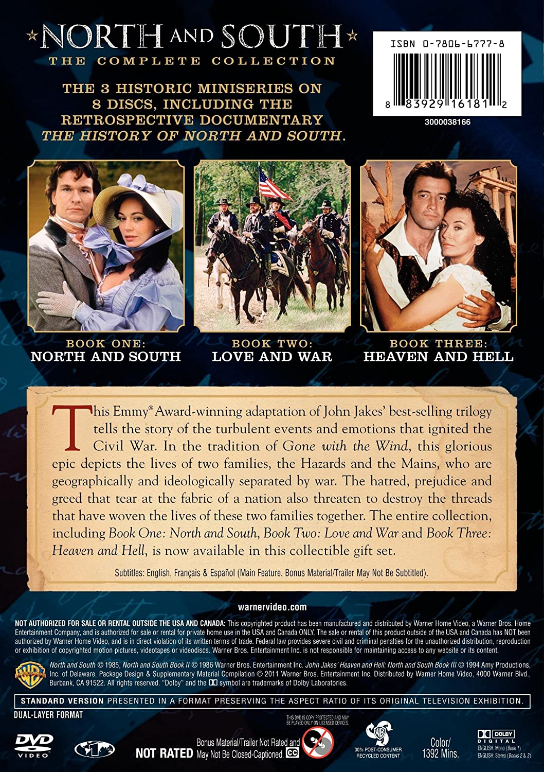 Amazon.com: North and South: The Complete Collection: David Carradine,  Patrick Swayze, Philip Casnoff, James Read, Kirstie Alley: Movies & TV