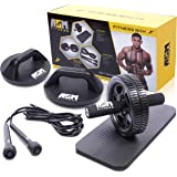 ASM Fitness Box – ab Rad-Roller mit dicken Knie Pad Matte | Premium Qualität Springseil um | Push Up Bar. Best Bauch Laufrad Perfekte Workout für ABS – Crossfit Speed Rope und Power Grip stehen, und Perfect Fitness 66306 Fitnesscenter für Home. 18 Monate Garantie | 100% Lebenslange Garantie.