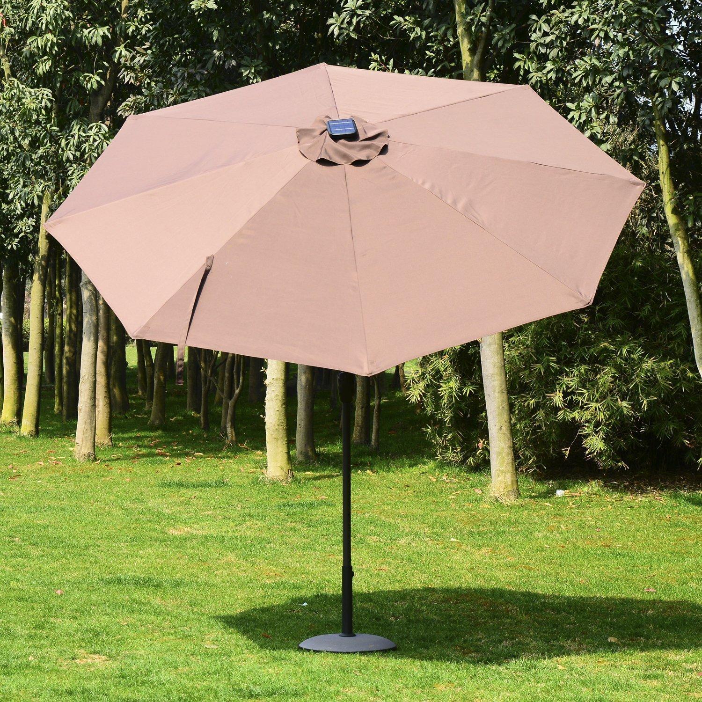 Amazon.com : Outsunny 9\' Solar Multi-Color LED Market Patio Umbrella ...