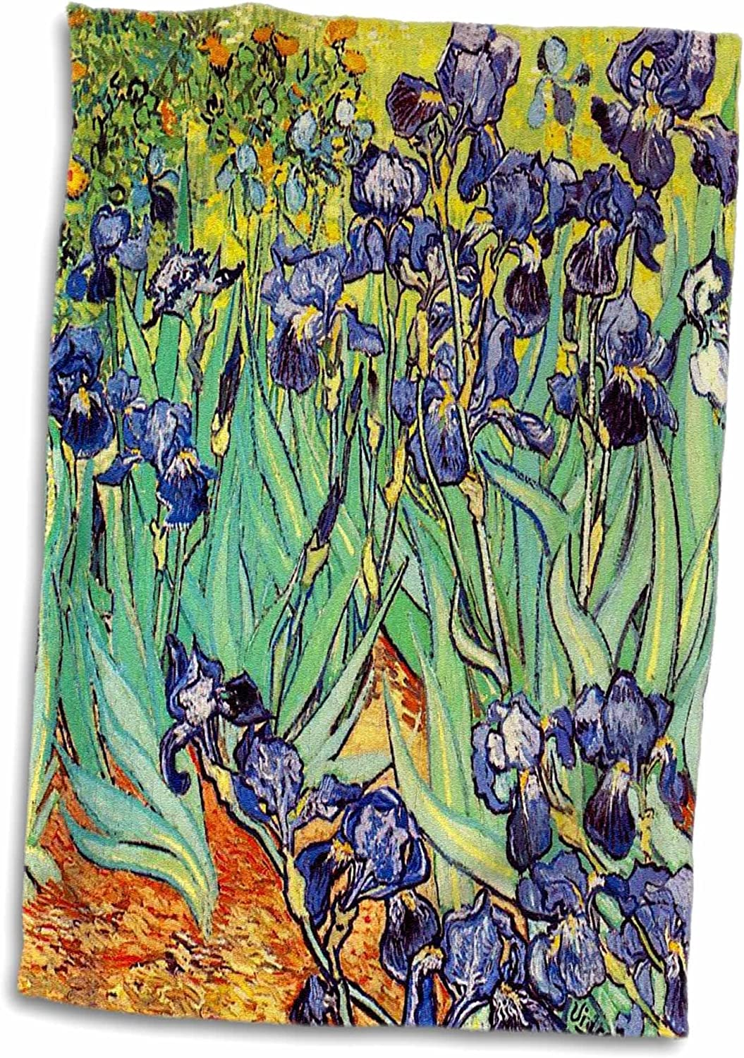 "3D Rose Irises by Vincent Van Gogh 1889-Purple Flowers Iris Garden-Copy of Famous Painting by The Master Towel, 15"" x 22"", Multicolor"