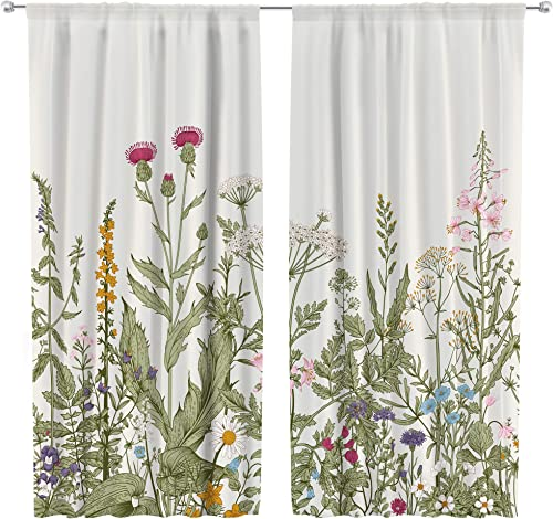 Riyidecor Green Leaves Curtains Floral Botanical Printed Rod Pocket Artwork Wild Flower Tulip Plants Ivy Herbs Rustic Living Room Bedroom Window Drapes Treatment Fabric 2 Panels 42 x 63 Inch