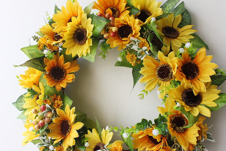 Silk Floral wreath home wall décor Artificial sun flower head …