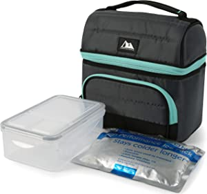 Arctic Zone Ultimate Secret Lunch Bucket with 2pc Leak Proof Food Container (37.2 fl.oz) and 350g High Performance Ice Pack-Grey, 236oz