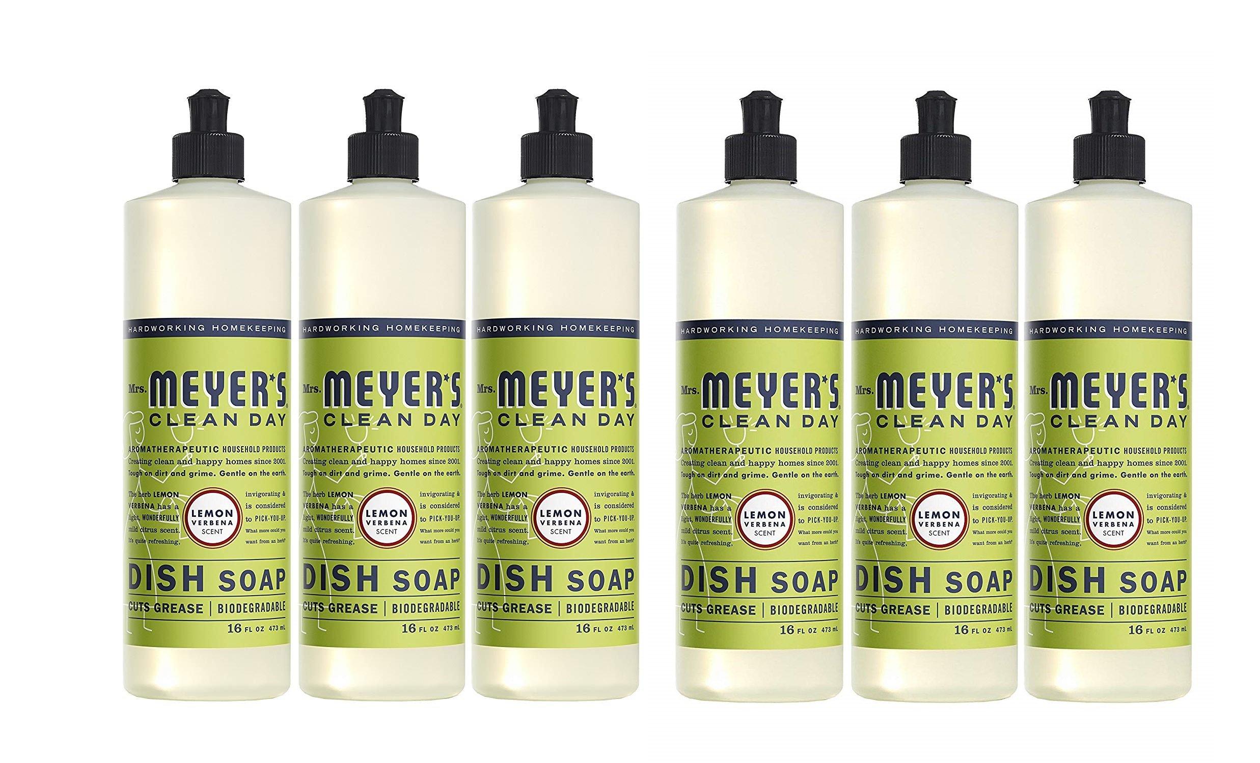 Mrs. Meyer's Clean Day Dish Soap, Lemon Verbena, 16 Fluid Ounces (6 Pack)